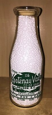 MILK BOTTLE - KOOTENAY VALLEY CO-OP, NELSON B.C. Round ACL Pint, Nursery Rhyme