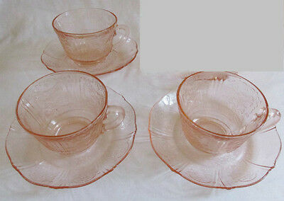 Set of 3 American Sweetheart Depression Glass Pink Cups and Saucers