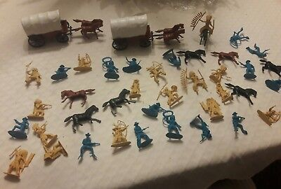 Vintage Unknown Maker Plastic Cowboy and Indians, Lot of about 40 pieces, Horses