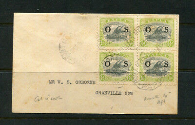 Papua 1930? Official Os Stamp Cover 1/2D Rare Block Of 4 Overprints