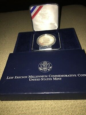 2000 Leif Ericson US Mint Silver Proof commemorative Coin and box