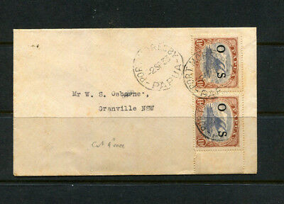 Papua 1933 Official Os Stamp Cover 1 1/2 Pair Of Rarer Overprints