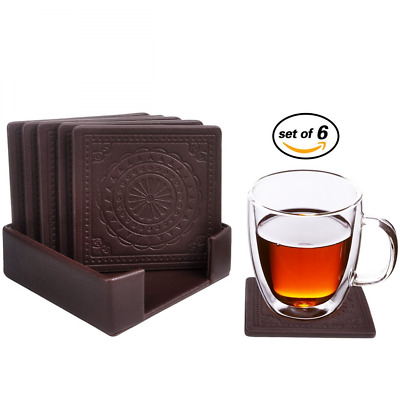 Drink Coasters,PU Leather Coasters for Drinks Glasses Set of 6 with Holder-Prote