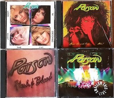 POISON - Lot of 5 lightly used CD's (Enigma / 1986-1991) Very Good / Near Mint