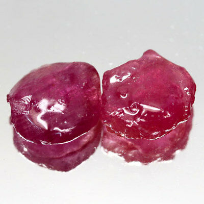 Free Shipp! 15.50Ct.sparkling Pair! Rough Top Blood Red Natural Ruby Madagascar