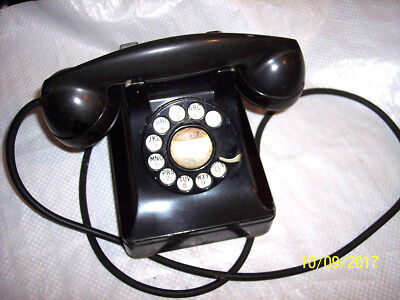 VINTAGE  black desk rotary phone   VERY OLD TELEPHONE    SEE 6 PICS