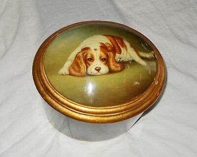 Beautiful Vintage MAITLAND SMITH LARGE BOX with COCKER SPANIEL DOG chest trunk