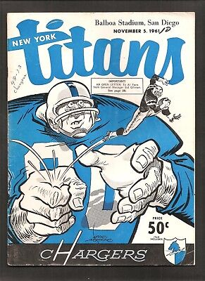 1961 New York Titans Vs San Diego Chargers Afl Football Program Kemp Lincoln ++