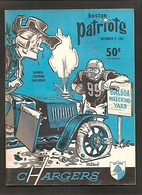 1962 Boston Patriots Vs San Diego Chargers Afl Football Program Hadl Lincoln Mix