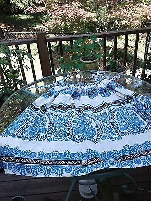 vintage blue & white cotton skirt from Greece