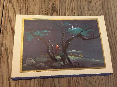 Vintage Tyrus Wong Signed Christmas Shepherd's Star Card Mid Century