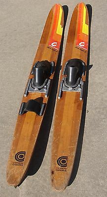 "VINTAGE CYPRESS GARDENS DICK POPE JR WATER SKIS 67"" WOODEN SKIIS (Yellow tag)"