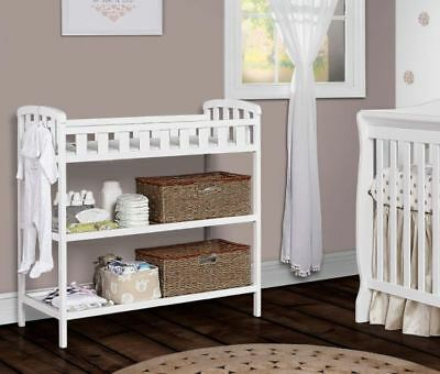 White Changing Table Wood Furniture Nursery Infant Baby Diaper Change Pad Strap