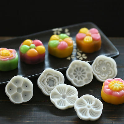 Moon Cake Decoration Mold 50g Flowers Round Mold With Six Stamps Hand Press