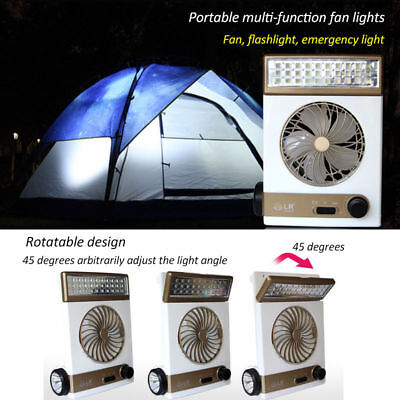 Rechargeable Solar Power Fan Vent Cooling Blower W/ LED Light for Camping