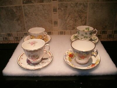 A Lot Of 4 Vintage English Cups And Saucers Bone China