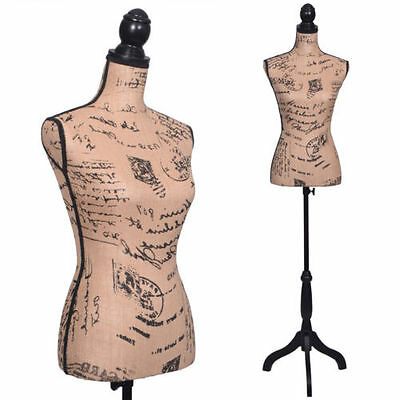 Female Mannequin Torso Designer Pattern Dress Form Display W/ Black Tripod Stand