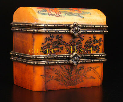 Double Jewelry Box Cattle Bone Color Engraving Painting Fish Doll Ornament Colle