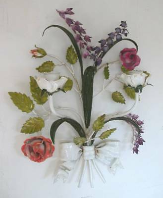 "Beautiful Vintage Tole Candle Wall Sconce Metal Flowers Italian 14"" Long"