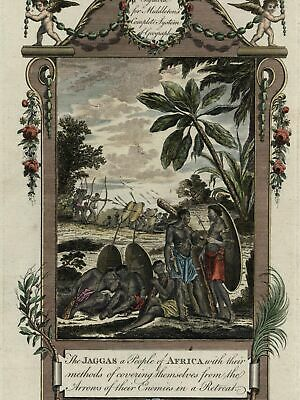 Jaggas Jaga people tribe Congo Kongo Africa bows arrows shields 1778 old print