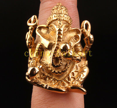 Rare Gilt Tibetan Silver Geneisha Statue  Indian Ring Collectable
