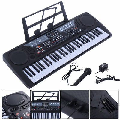 61 Key Digital Music Electronic Keyboard Kids Electric Piano Organ Gift Black Ne