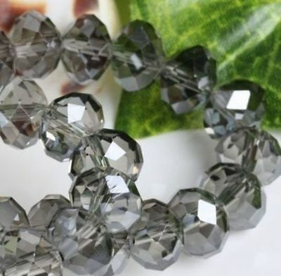 Cute 100pcs 6x4mm Crystal glass Loose Beads gray grey AB FREE SHIPPING