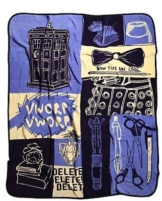 "BBC Doctor Who Sketchs Micro Raschel Throw SUPER PLUSH BLANKET 50"" x 60"" NEW"
