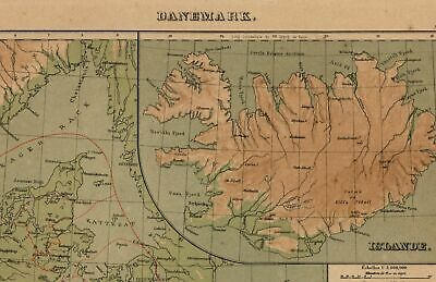 Iceland Scandinavia Denmark Faroe old embossed physical relief map 1892 Bertaux