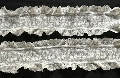 "20 1/2"" Victorian Batiste Embroidered Lace w/Ruffle Bobbin Lace both sides Trim"