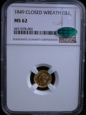 1849 Closed Wreath G$1 Ngc Ms 62 Cac 1849 Liberty Gold Dollar