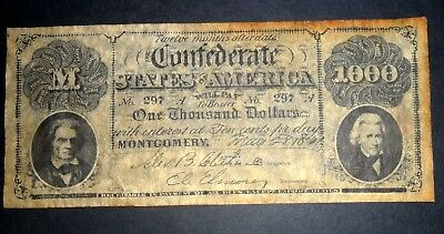 Usa Confederate Bank Note, One Thousand  Dollars