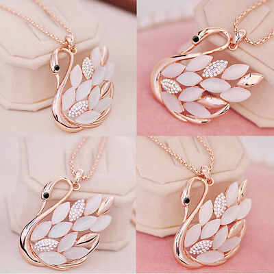 Lady Rose Gold Plated Cat eye Crystal Swan Pendant Necklace Sweater Chain RU67
