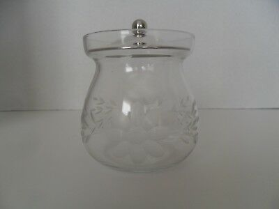 Vintage etched glass   condiment  jar with  Sterling Silver lid