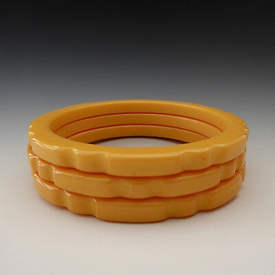 3 Vintage 40's Bakelite Egg Yolk Yellow Scalloped Carved Bangle Bracelets Tested