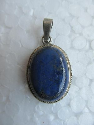 Rare Old Vintage Tribal Blue Stone With Sterling Silver Amulet Pendant India