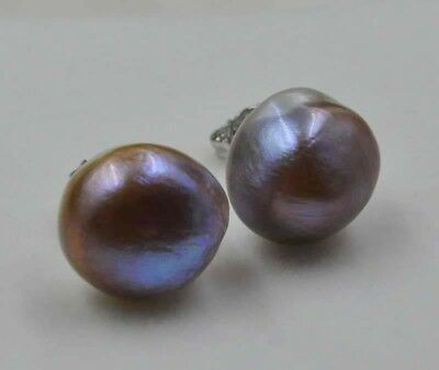 Natural purple 12mm cultured pearl studs earring Free shipping