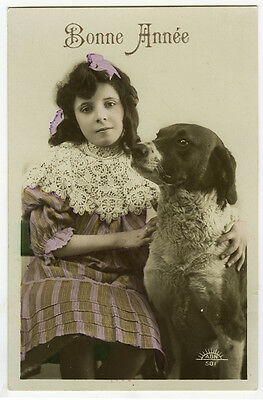 c 1910 Pretty Young GIRL w/ DOG tinted French photo postcard
