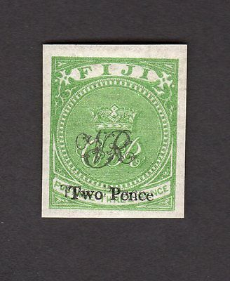 Fiji Scott Number 34A SG 32 Mint Hinged Imperf Stamp with DOUBLE STRIKE OVPT