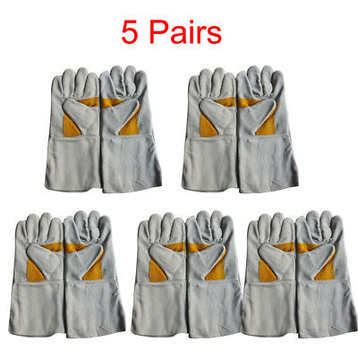 5 Pairs Welding Gloves High Temperature Leather Protect Welder Hands Long Glove