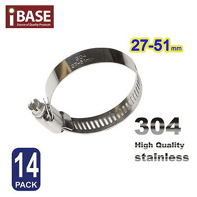 14X Hose Clamps Clips 304 SUS Adjustable Spring Pipe Clamp Stainless 27-51mm