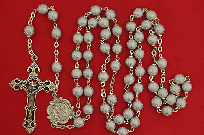 OUR LADY OF LOURDES White & Silver/Gray Catholic Rosary MARY BERNADETTE Center