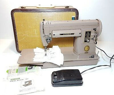 vintage singer portable sewing machine 301A Long bed and hard case
