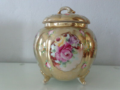 Antique biscuit cracker jar gold rose floral footed with lid beautiful & old