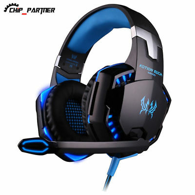 Blue Gaming Headset Surround Stereo Headband USB LED with Mic for PC Laptop