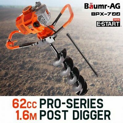 NEW 62cc Two Stroke Petrol Commercial Baumr-AG Drill Auger Post Hole Digger