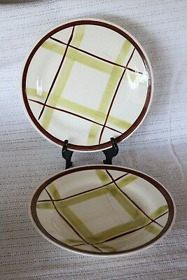 "Edwin Knowles - PLAID - V-2214 - Made in U.S.A. - 9 3/8"" Luncheon Plates (2)"