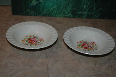 "Edwin M Knowles - Floral Design - Fluted Rim - 5 1/2"" Berry Bowls (2)"