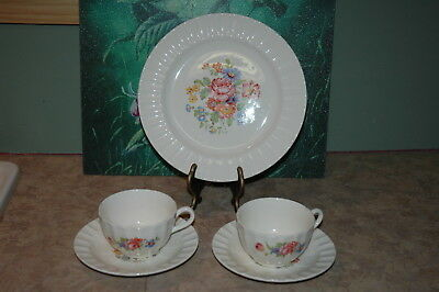 Edwin M Knowles - Floral Design - Fluted Rim - Dinner B & B Coffee Cups Saucers