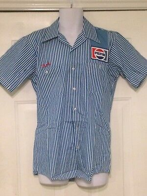 1980s Pepsi Cola Blue Pinstripe Uniform Shirt w/ Patch Delivery Driver NWOT VTG